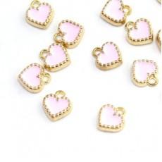 Подвеска розовое сердечко #3593
