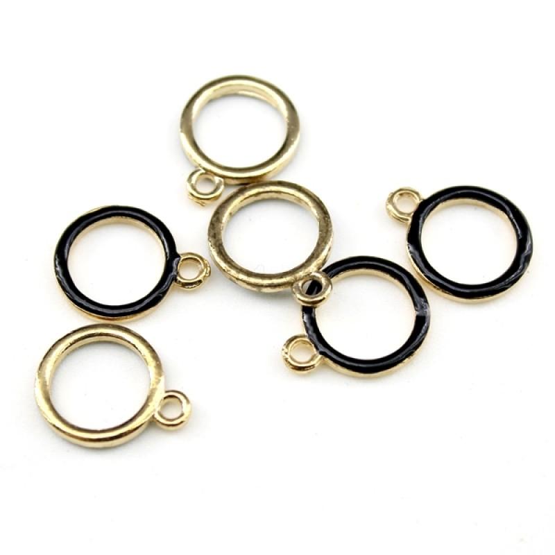 Подвеска Кольцо D=13мм черное с золотом #5262