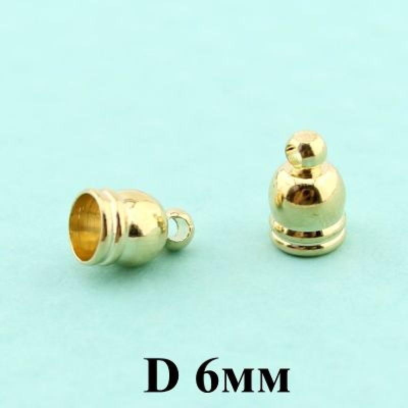 Концевики D=6 Золото #3762