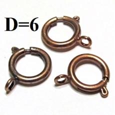 Застежка Лобстер Кольцо D=6 Бронза #3743
