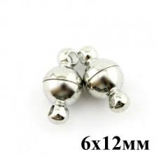 Застежка Магнитная 6х12 (пара) #3775 Серебро