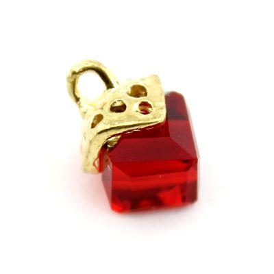 Подвеска-бусина Красный квадрат #3696