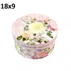 Коробка Круглая Цветы 18х9 #10540