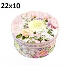 Коробка Круглая Цветы 22х10 #10541