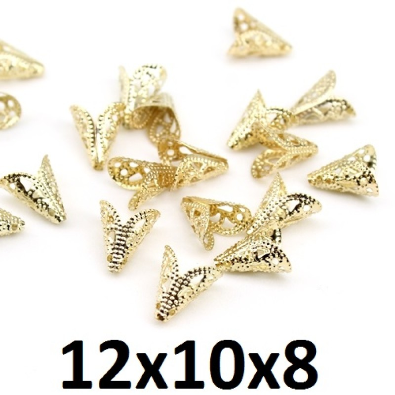 Шапочки-конусы 12х10х8 Золото, 1гр (6шт) #2526