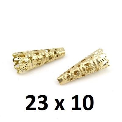 Шапочки-конусы 23х10 Золото, 1гр (2шт) #2737