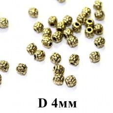 Мет. бусины D=4, 1шт бронза #5328