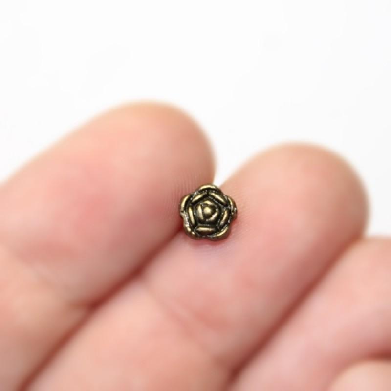 Мет. бусины Роза D=6х4, 1шт Бронза #5332