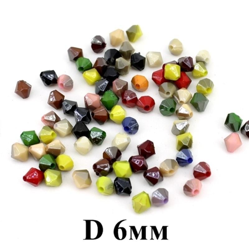 Бусины Ромбы с огранкой D=6, 1 гр (11шт) МИКС #3875