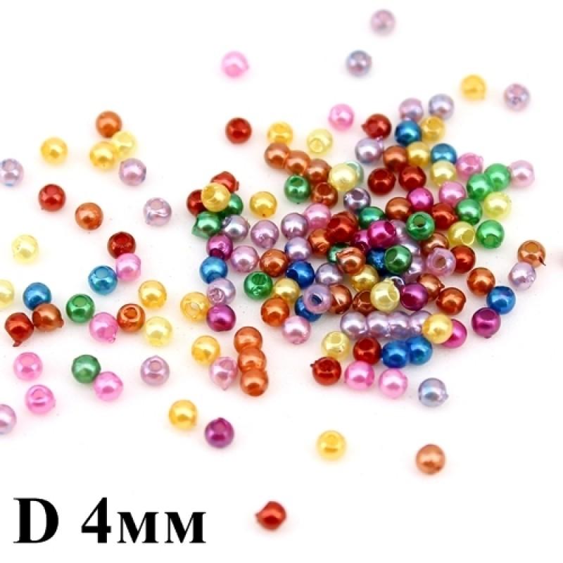 Бусины жемчужные D=4, 1 гр (30шт) МИКС #1845