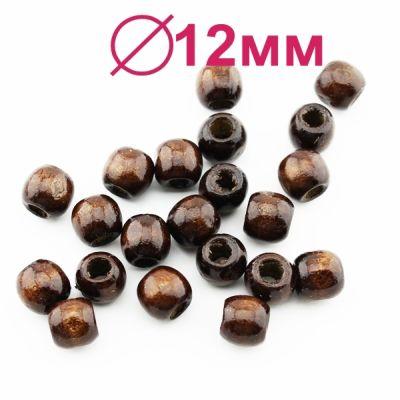 Бусины деревянные D=12 мм (отв D=5 мм) 1 гр (2 шт) #1906
