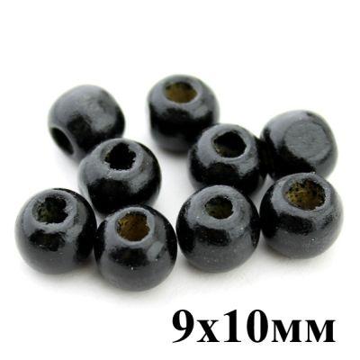 Бусины Черные 9х10, 1гр (3 шт) #4058