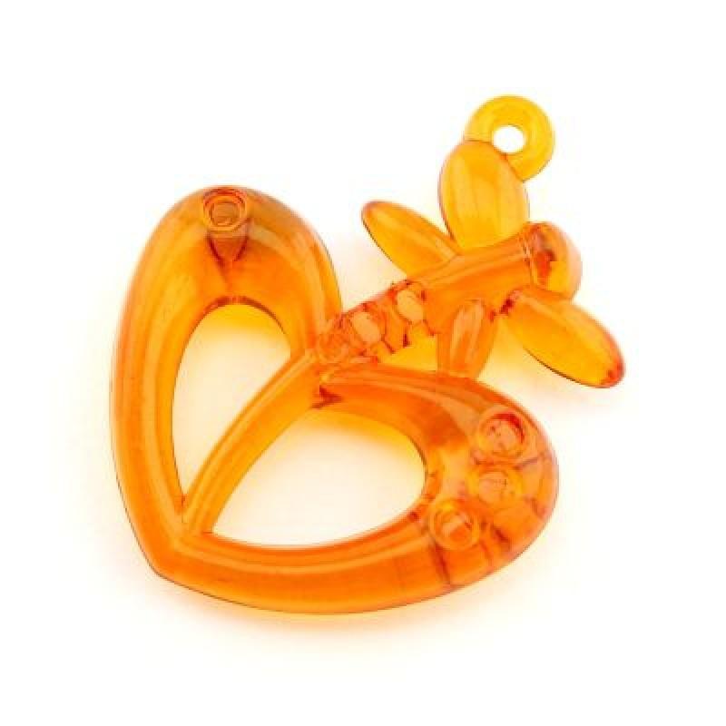 Подвеска Сердце и бабочка МИКС #3710