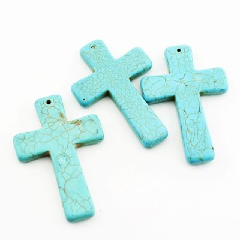 Кулон Бирюза Крест 40х59 #2012
