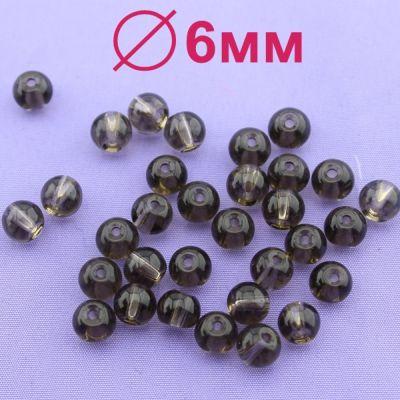 Стеклянные бусины Коричневые D=6 мм 15 шт #1972