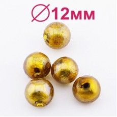 Стеклянные бусины D=12 мм золотые #2298