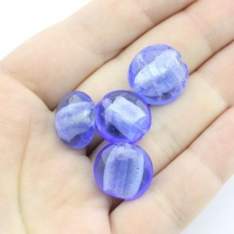 Стеклянные бусины 16х8 D=16 мм Синие, 2шт #2311