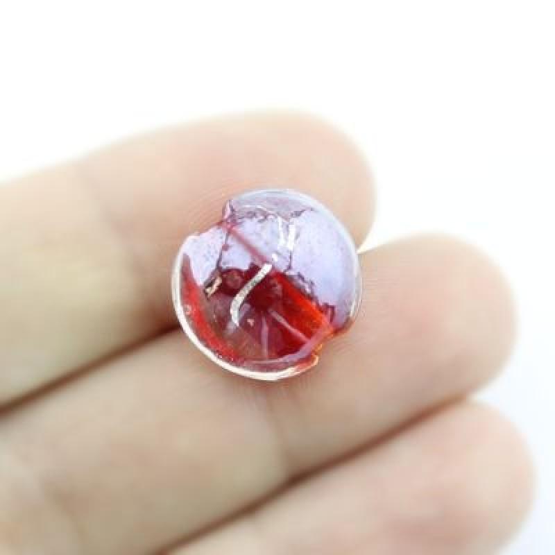 Стеклянные бусины 15х9 D=15 мм Красные, 2шт #2315