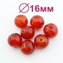 Стеклянные бусины D=16 мм Красные #2322