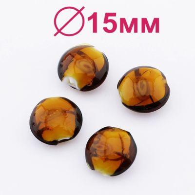Стеклянные бусины 15х9 D=15 мм Коричневые, 2шт #2324