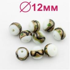 Стеклянные бусины D=12 мм МИКС #2329