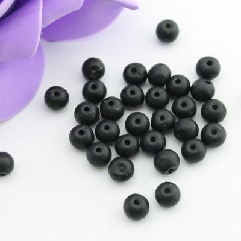 Стеклянные бусины Черные матовые D=6 мм 15 шт #2436