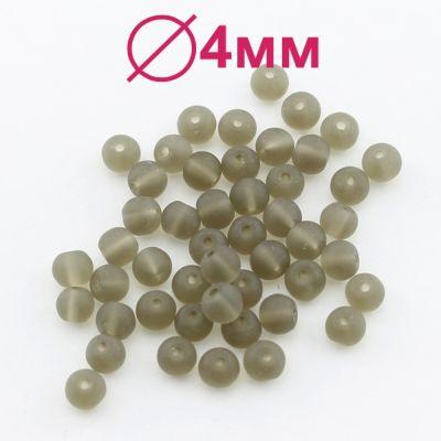 Стеклянные бусины Коричневые матовые D=4 мм 20 шт #2439