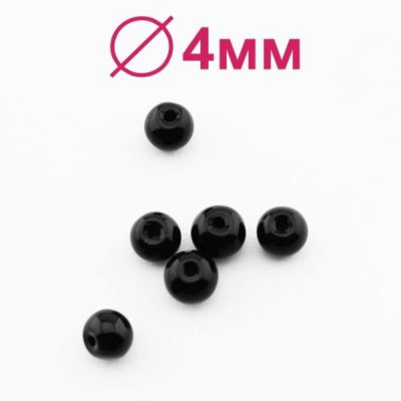 Стеклянные бусины Черные глянцевые D=4 мм 20 шт #2442