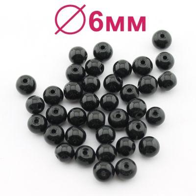 Стеклянные бусины Черные глянцевые D=6 мм 15 шт #2443