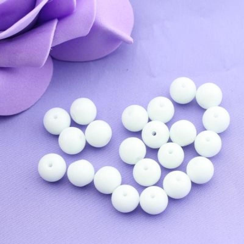 Стеклянные бусины Белые D=8 мм 8 шт #2447