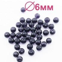 Стеклянные бусины Фиолетовые D=6 мм 15 шт #2450