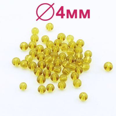 Стеклянные бусины Желтые D=4 мм 20 шт #2456