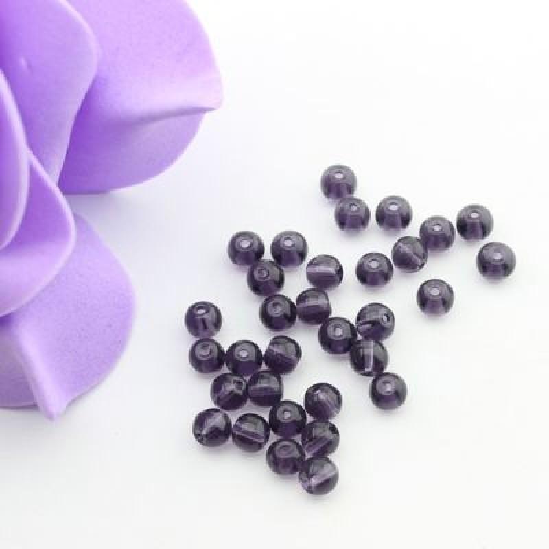 Стеклянные бусины Фиолетовые D=4 мм 20 шт #2457
