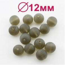 Стеклянные бусины Коричневые матовые D=12 мм 1 шт #2466