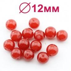 Стеклянные бусины Майорка Красные D=12 мм 1 шт #2468