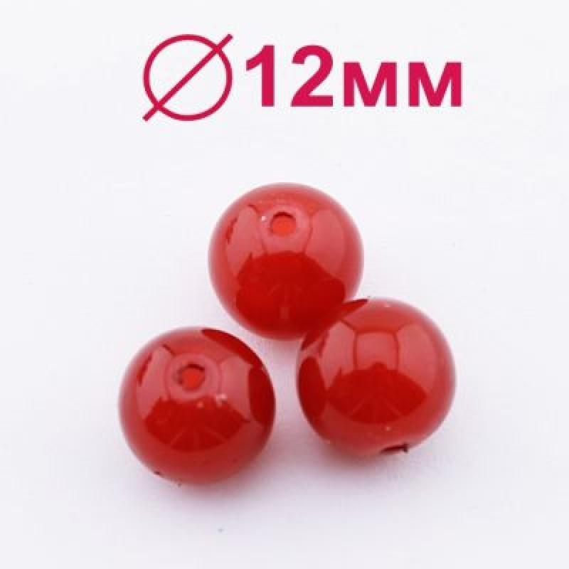 Стеклянные бусины Майорка Красные D=12, 2шт #2468