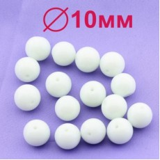 Стеклянные бусины Белые D=10 мм 1 шт #2470