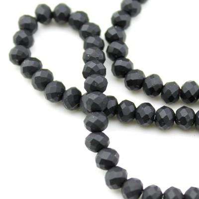 Стеклянные бусины D=6х5 Черные #11565