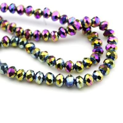 Стеклянные бусины D=6х5 Темно-фиолетовые #11604