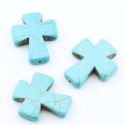Бусины Бирюза Крест 36х30х7 1 шт #2083