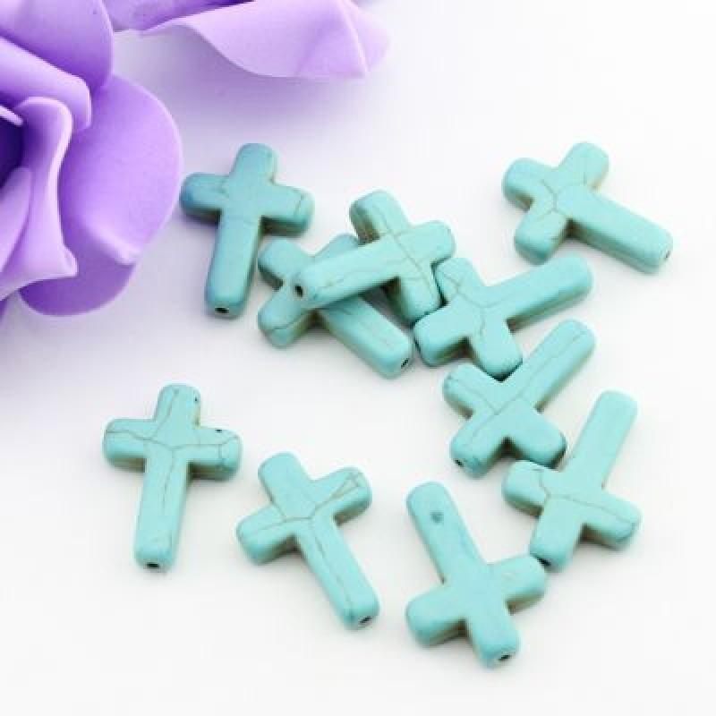 Бусины Бирюза Крест 25х18х6 1 шт #2093
