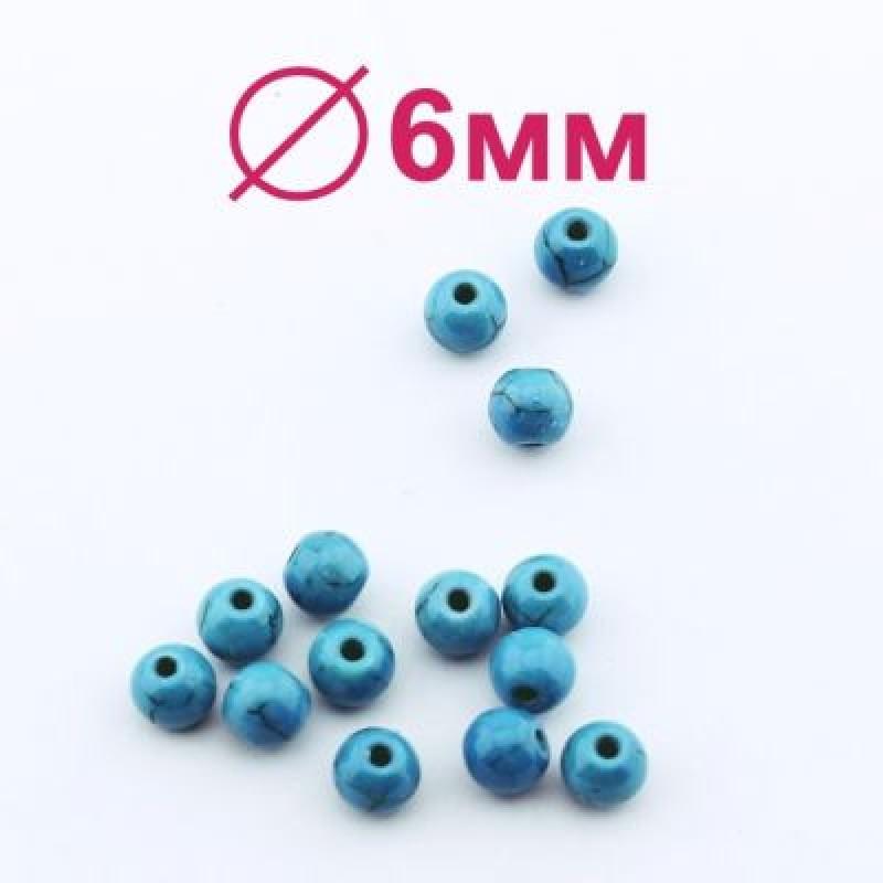 Бусины Бирюза Глянцевые D=6 мм 1 шт #2095