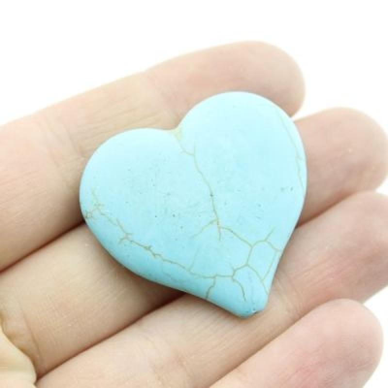 Бусины Бирюза Сердце 32х34х8 1 шт #2100