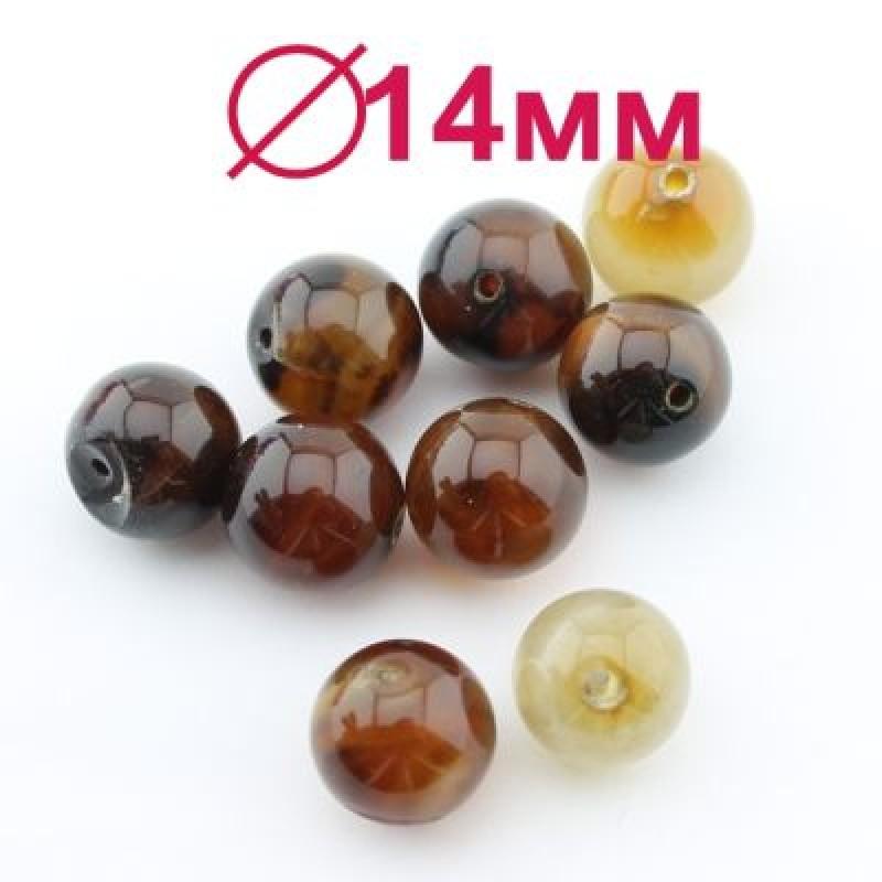 Бусины Сардоникс D=14 мм, 4шт #2289