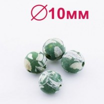 Бусины Перламутр D=10 мм Зеленые 6 шт #2332