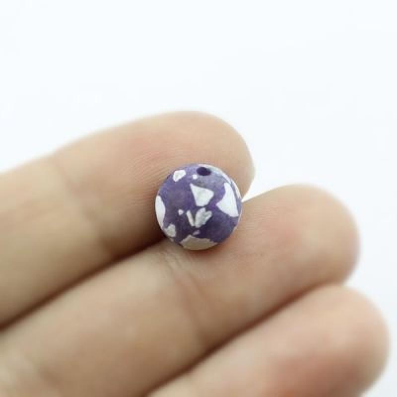 Бусины Перламутр D=10 мм Фиолетовые 6 шт #2333