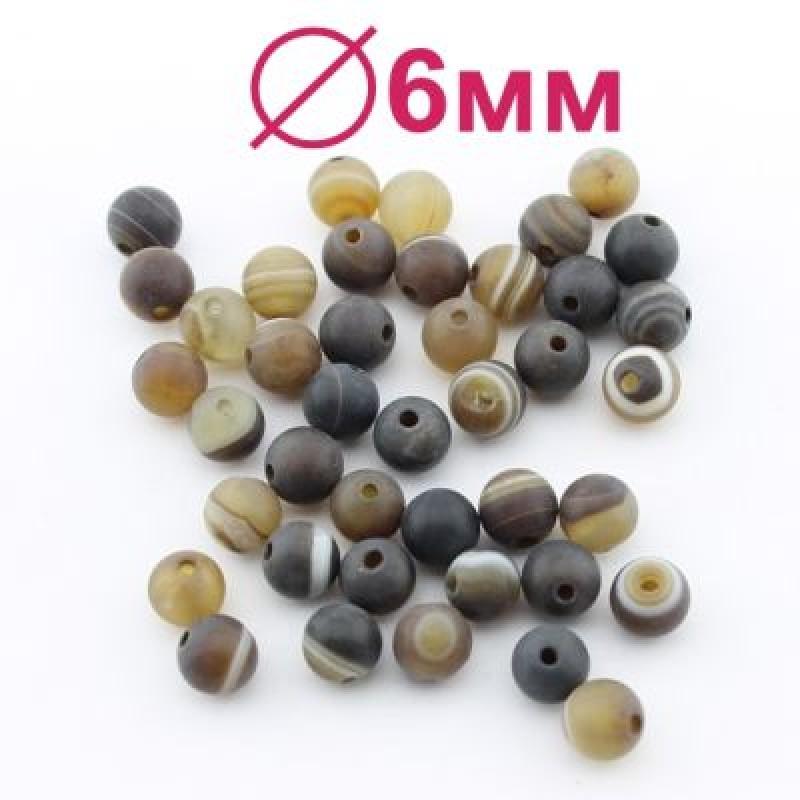 Бусины Кофейный Агат матовый D=6 мм 10 шт #2338
