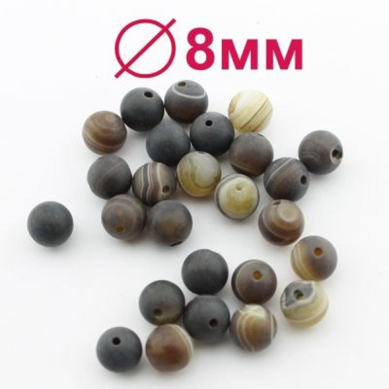 Бусины Кофейный Агат матовый D=8 мм 6 шт #2340