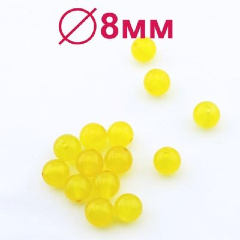 Бусины Агат А Желтые D=8 мм 5 шт  #2352