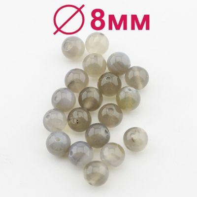 Бусины Агат А Белые D=8 мм 5 шт  #2353